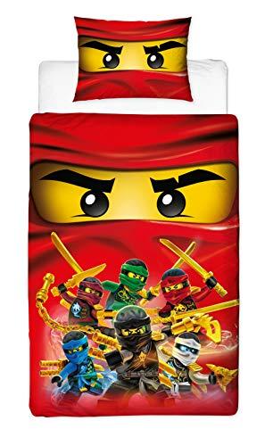 LEGO Ninjago Collective Design Einzelbett-Bettbezug, wendbar, zweiseitig, mit passendem Kissenbezug, Mehrfarbig, 200 x 135 cm (Lego Krieger Waffen)