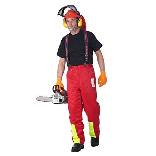 WOODSafe Schnittschutzhose Klasse 1, Forsthose, kwf-Geprüft, Bundhose Rot/Gelb, Herren - Waldarbeiterhose mit Schnittschutz Form A, Leichtes Gewicht (52)