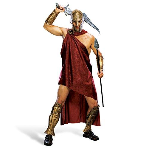 300 - Spartaner Deluxe Komplett Film Kostüm Herren 5-tlg Toga Klammer Armstulpen Beinstulpen Helm - (Halloween Kostüme Spartaner)