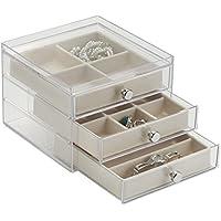 mDesign - Caja organizadora de bijouterie; para anillos, aros, pulseras, collares - Claro/marfil