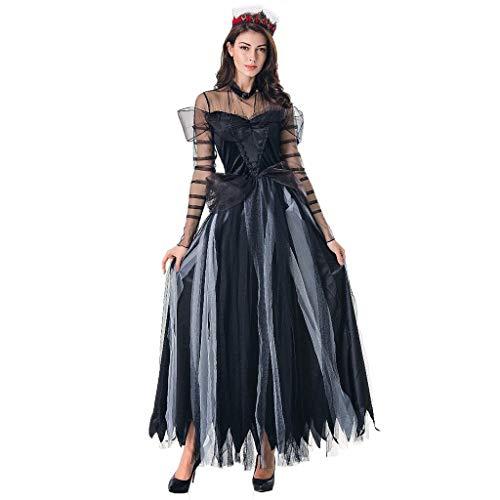 Kapuze Kostüm Ghost - Lomelomme Halloween Kostüm Cosplay Hexe Kleid Vintage Langarm Horror Ghost Bride Zombie Blutiger Vampir Teufel Kostüm Bar Party Bühnenkostüm
