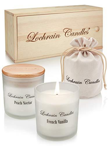 Lochrain Candles Duftkerzen Set – Aroma Kerzen Set – Lavendel, Französische Vanille und Pfirsichnektar – Duft Kerze mit Ätherischen Ölen und Pflanzenstoffen, die Ihnen helfen, Sich zu Entspannen