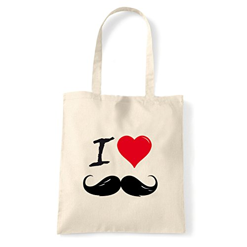 Art T-shirt, Borsa Shoulder I Love Mustache, Shopper, Mare Natural