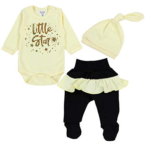 TupTam Baby Mädchen Bekleidungsset Little Star 3tlg., Farbe: Hellgelb / Schwarz, Größe: 80