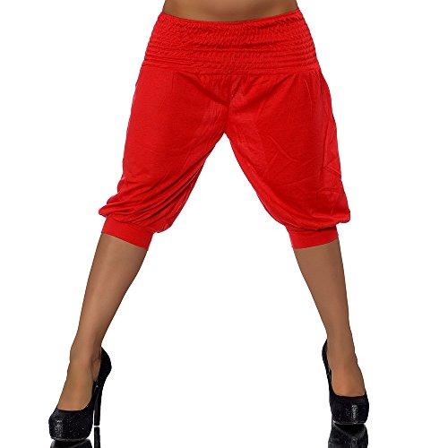 G541 Damen Leinenhose Stoffhose Leinen Chino Pump Hose Chino Capri Sommerhose Rot