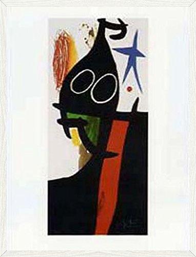 Joan Miró Poster Kunstdruck und MDF-Rahmen Holzoptik Pinie Rustikal - Der Sarazene Mit Dem Blauen Stern (80 x 60cm)