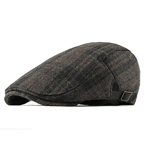 Unexceptionable-Berets Herren-Barette, Winter Wool Beret Herren Damen Retro Vintage Plaid Ivy Newsboy Flache Kappe Einstellbare Duckbill Beret Cap Herren Cap Hat @ Navy_Blue -