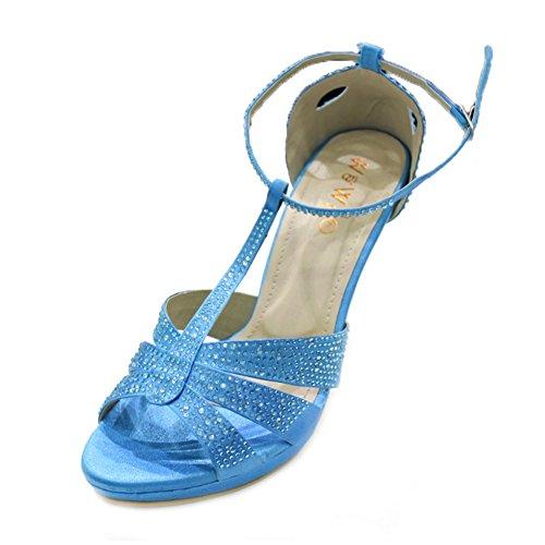 W & W Frauen Damen Abend mit High Heel Sandalen Ball Party Hochzeit Schuhe Größe (Boas) Blau