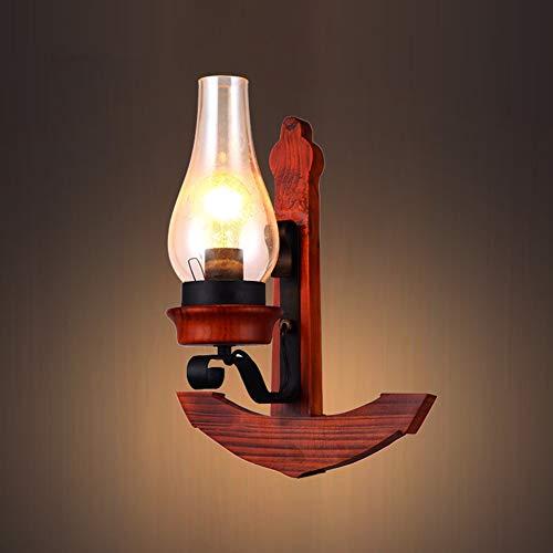 MJBOY Wandleuchte Retro Mittelmeer Massivholz Schiff Anker Wandleuchte Kreative Ganglichter Bar Cafe Schlafzimmer Wohnzimmer Balkon Lampen