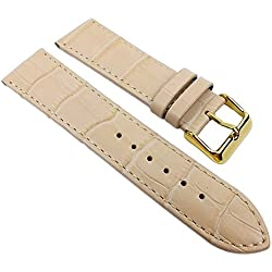 Big Fashion - Louisiana Print Replacement Band Watch Band Leather Kalf Strap Beige 21929G, Abutting:28 mm