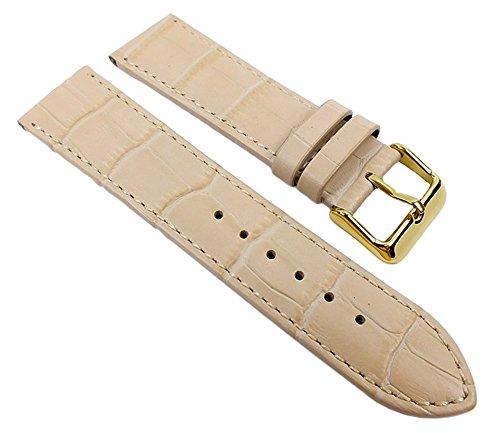 Ersatzband Uhrenarmband Kalbsleder Band Beige Alligator-Prägung und Naht 21929G, Anstoß:26 mm