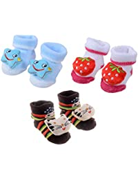 SHOP FRENZY Baby Girl's and Baby Boy's Cartoon Teddy Bear Printed Cotton Booties (0-12 Months) - Set of 3