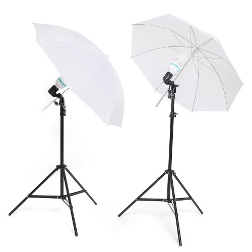 otoschirm, 2x135W, Durchlichtschirm 84cm, Lampenstativ mit Reflexschirm Regenschirm für Foto und Video Studio Aufnahme (Foto-lampen)