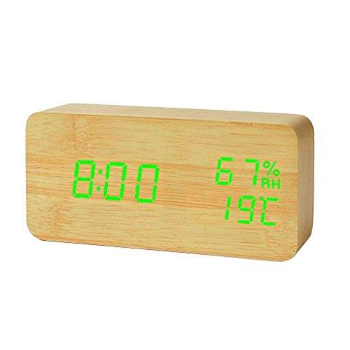 Kakiyi LED Sonic Moderne LED-Bambus-Holz-Wecker-Temperatur-Feuchtigkeits Elektronische Desktop-Digital-Tischuhr