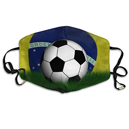Daawqee Staubschutzmasken, Beautiful Brazil Flag Football Printed Mask Neutral Mask Men Women Polyester Dust-Proof Breathable Mask (Football Womens Kostüm)