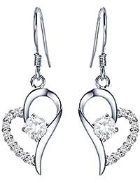 c3fbfea52 QUKE Lady 925 Sterling Silver Love Heart Shape Cubic Zirconia Crystal  Chandelier Dangle Drop Earring Jewellery