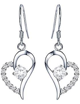 QUKE 925 Sterling Silber Herz Shape Zirkonia Kristall Ohrhänger hängend Ohrringe Damen Modeschmuck