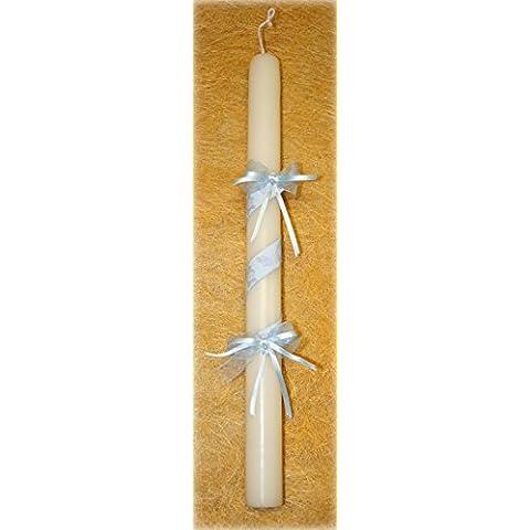 vela de bautizo-bebe osito-40 blanco Vela de bautizo de color blanco decorada con una cinta en espiral, dos lazos y dos perlas blancas,la cinta contiene dibujos de ositos, chupetes y biberones. La cinta puede escogerla de color rosa o azul.