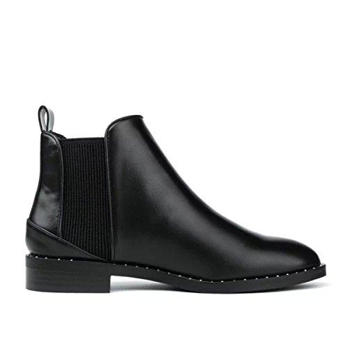 Wjnkk Low Cheville Chaussures Mesdames Dames Nouveau Collants À La Mode Rétro Grande Taille Loisirs 35-40 Noir