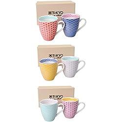 Tokyo Design Studio, Star Wave, 6er Tassen-Set mit Henkel, 9.8 cm, Ø 8.7cm, 250 ml, Porzellan