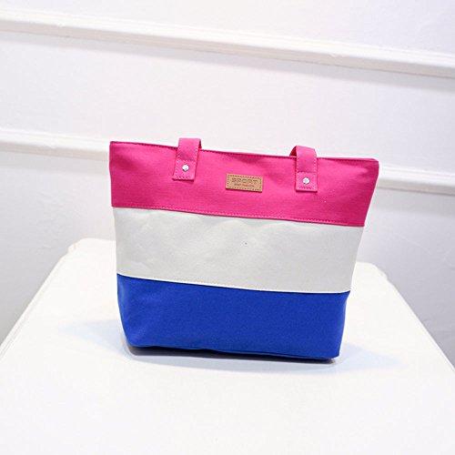 Longra Donna Banda di colore Canvas Tote Bag Rosa caldo