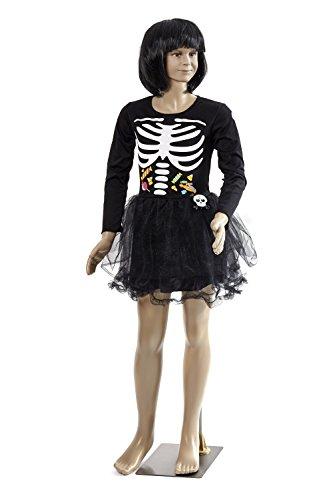 inderkostüm - Miss Skelett, 140 (Jungs Rock Star Kostüme)