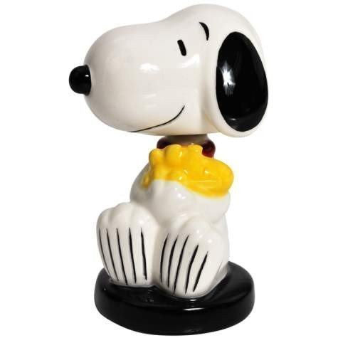 Peanuts Snoopy Hugging Woodstock Football Mini Bobble Figurine by Westland Giftware