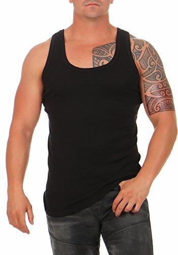 12er Pack Herren Unterhemd Classic in Feinripp Tank Top schwarz Muskel Shirt Trägershirt Größe 10 (10 Bekleidung Top Herren)