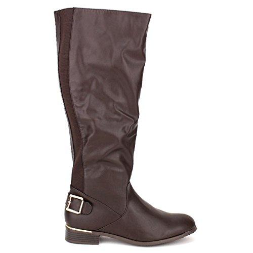 Cendriyon, Botte Simili Cuir Marron GUEISS Chaussures Femme Marron