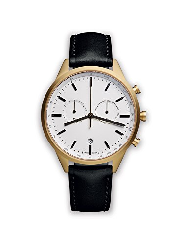 uniform wares unisex pvd gold quartz watch with white dial chronograph display and black leather strap c41