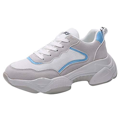 WOZOW Scarpe da Donna Scarpe Sportive Sneaker Moda Maglia Fitness Sport Scarpe da Ginnastica Casuale in Esecuzione Scarpe da Studente Blu 37.5EU