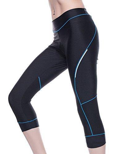 New Fahrradbekleidung für Damen Sport Leggings mit Sitzpolster Komfort Slim Fit Radhose 3/4 Hosen (M)