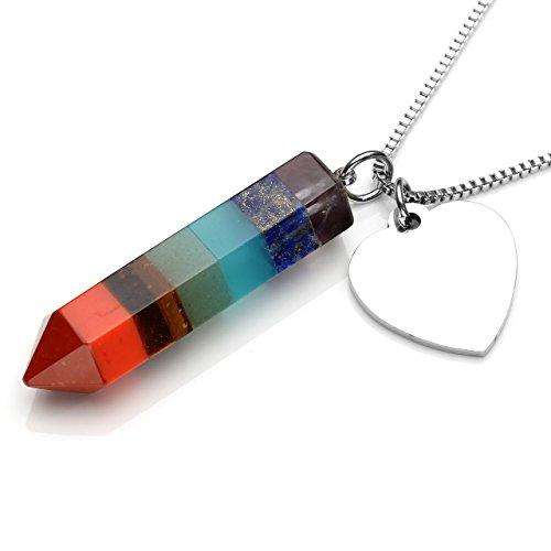 CrystalTears Halskette mit 7 Chakra-Edelsteinen, mit Energieheilung, sechseckiger Spitze, Pendel, Schmuck