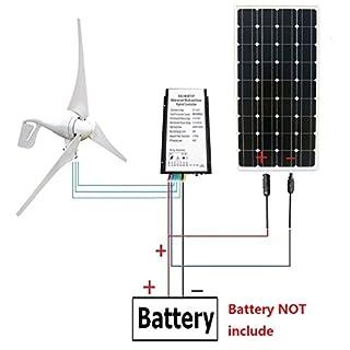 ECO-WORTHY 12 volts 500 watts Kit solaire de vent: éolienne de 12V / 24V 400W + panneau solaire monocristallin de 12V 100W + câble de 24cm pour la maison