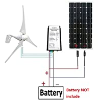 ECO-WORTHY 12 Volts 24V 500W 1000W 1400W Watts Off Grid Solar & Wind System with 400W Wind Turbine Generator, solar panels, MPPT inverter, Y Branches MC4 Connectors, Solar Cable 22