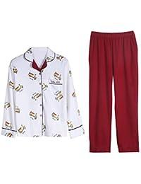 9ca7be16be AIBAB Otoño Pijama Mujer Algodón Chaqueta De Solapa Pantalon Manga Larga  Chandal Traje ...
