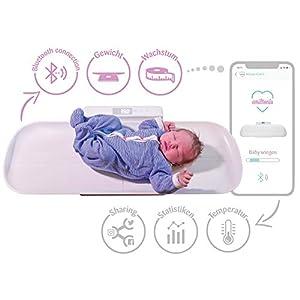 Smartphone-fähige Emiltonia Babywaage inkl. Gratis APP für iOS + Android   4 in 1: Babywaage + Kinderwaage + Personenwaage bis 100 kg   Integrierte Größenmessung
