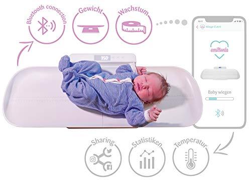 Smartphone-fähige Emiltonia Babywaage inkl. Gratis APP für iOS + Android | 4 in 1: Babywaage + Kinderwaage + Personenwaage bis 100 kg | Integrierte Größenmessung