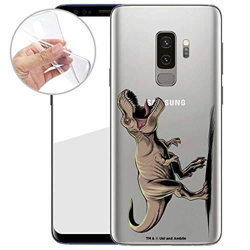 Finoo Hülle für Samsung Galaxy S9 Plus - Handyhülle mit Motiv und Optimalen Schutz TPU Silikon Tasche Case Cover Schutzhülle - T-Rex auf der Jagd