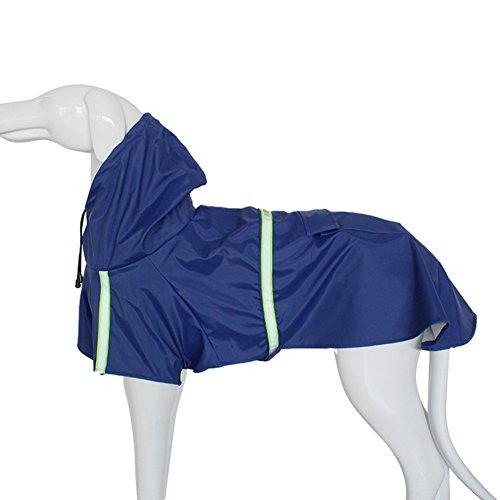 Petcomer Wasserdicht Pet Regenjacken Poncho Leicht Mit Kapuze Regenschutz Jacke reinwear Kleidung mit Reflektierende Band für große Medium Kleine Hund (XL Length 15.75'', Blau) (Poncho Band)