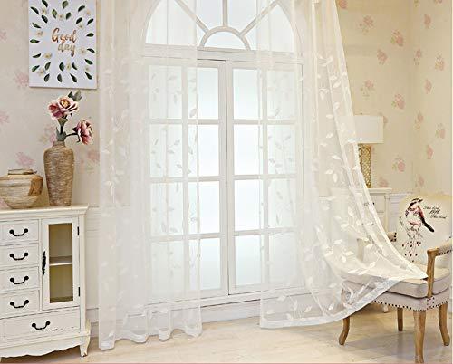 BW0057 Vorhang mit Stickereien, für Wohnzimmer (Breite 50 x Länge 20,4 cm), Polyester-Mischgewebe, weiß, 50 * 102 Inch, 1 Panel (Vorhang-panels 108 Länge)