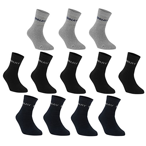 Donnay Herren Quarter Socken 12 Pack Dunkel Asst Herren UK 12+ (12 Socken Pack Wolle)