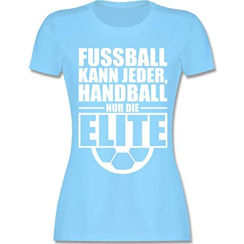 Handball WM 2019 - Fußball kann jeder, Handball nur die Elite - S - Hellblau - L191 - Damen T-Shirt Rundhals