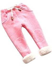 TINGSU - Pantalones de algodón para bebé, para niños, con forro grueso, color azul (talla 3/4T) rosa rosa Size:5/6T
