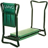 Reclinador de jardín portátil y plegable de LIVIVO ®, multiusos, se puede ajustar como un banco, taburete silla o reclinador, acolchado, viene con una bolsa