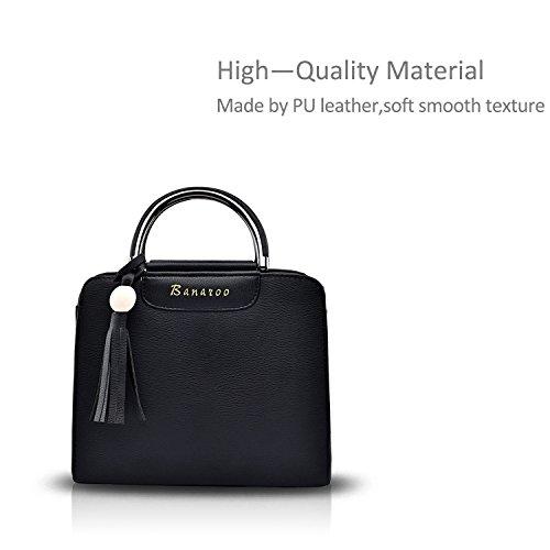 NICOLE&DORIS Elegante Borsa a tracolla borsa Crossbody Totes Messenger per PU Soft donne Nero Nero