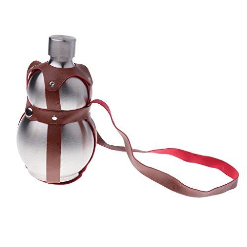 PETSOLA Kürbis Flachmann Trinkflasche, Edelstahl Wasserflasche, Thermosflasche -