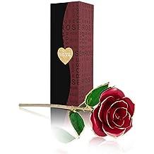 Rosa 24K , Fresco Rosas Vivas Flores Chapadas en Oro con Caja de Regalo para el Día de San Valentín Día de la Madre Navidad Cumpleaños Dorado-Rojo