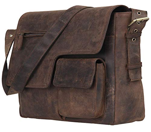 Woodland Leathers Buffalo - Bolso Bandolera para portátil de 15' (Piel), Color marrón