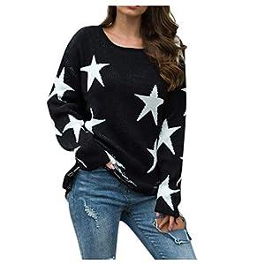 TIMEMEAN Damen Sweater Oversize Winter Schulter Baumwolle Sterne Print Pocket Pullover Tunika